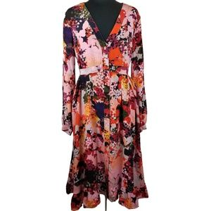 Maeve Anthropology Dress Colorful Floral Flowy 14